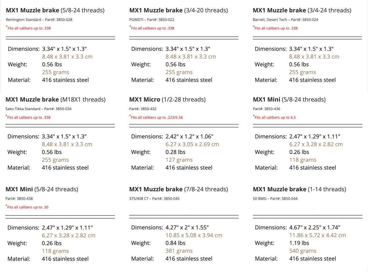 Cadex Defense - MX1 Muzzle Brake Specs - Buy Today At TexasStarArsenal.com